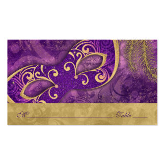 Masquerade Ball Purple Gold Wedding Place Cards Double-Sided Standard Business Cards (Pack Of 100)