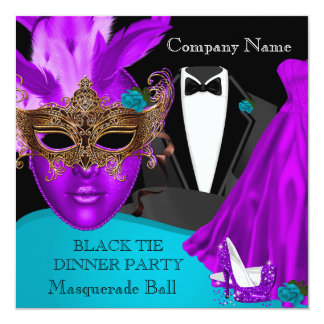 Masquerade Ball Purple Teal Black Tie Party Card