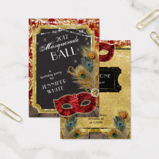 Masquerade Ball Red Gold Peacock Admission Ticket