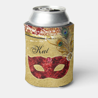 Masquerade Ball Red Gold Peacock Birthday Party Can Cooler