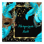 Masquerade Ball Teal Blue Masked Party 5.25x5.25 Square Paper Invitation Card
