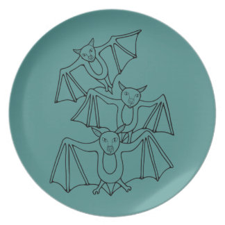 Masquerade Bats Line Art Design Melamine Plate