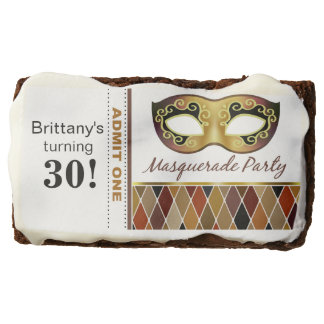 Masquerade Birthday Party Admit One | bronze Brownie