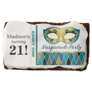 Masquerade Birthday Party Admit One | teal Chocolate Brownie