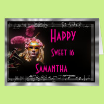 Masquerade  birthday party card