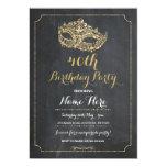 MASQUERADE Birthday Party Gold Mask Invite 40th 50