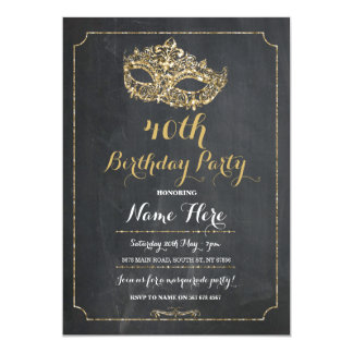 MASQUERADE Birthday Party Gold Mask Invite 40th 50