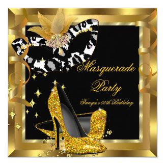 Masquerade Birthday Party Mask Wild Gold Heels Card