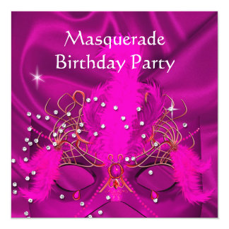 Pink Gold Masquerade Birthday Party Invitations & Announcements ...