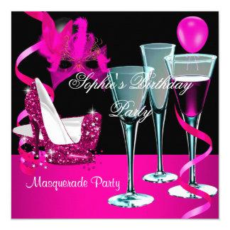 Masquerade Birthday Party Pink Wine Stiletto Invitation