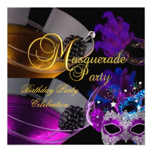 Masquerade Birthday Party Purple Pink Masks Personalized Announcements