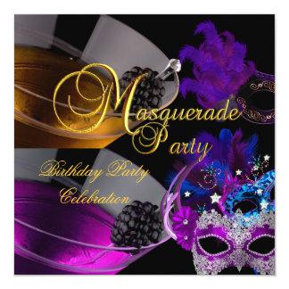 "Masquerade Birthday Party Purple Pink Masks 5.25"" Square Invitation Card"