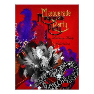 Masquerade Birthday Party Purple Red Black Mask Custom Invitation