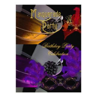 Masquerade Birthday Party Purple Red Black Masks Personalized Invite