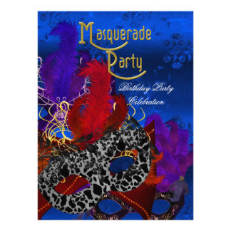 Masquerade Birthday Party Purple Red Blue Masks Custom Announcement