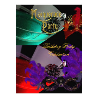 Masquerade Birthday Party Purple Red Teal Masks Invite