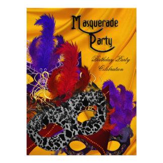 Masquerade Birthday Party Purple Red Yellow Masks Invitations