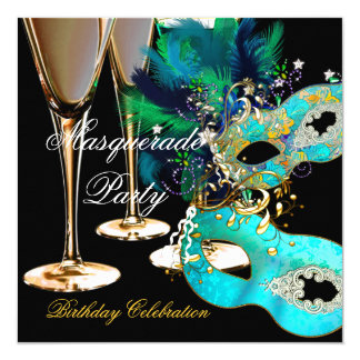Masquerade Birthday Party Teal Blue Gold Masks Invitation