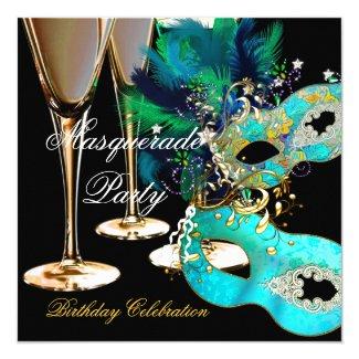 Masquerade Birthday Party Teal Blue Gold Masks Invitation