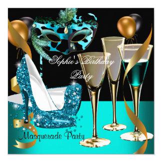 Masquerade Birthday Teal Gold Wine Stiletto 2 Invitation