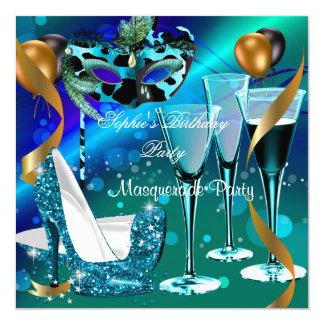 Masquerade Birthday Teal Gold Wine Stiletto 3 Invitation