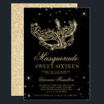 "Masquerade black gold glitter mask Sweet 16 Invitation<br><div class=""desc"">A modern,  chic and glamorous sweet sixteen with a hand drawn gold glitter masquerade mask with gold glitter diamond sparkles on an editable black background with gold glitter at the back.</div>"