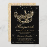 """Masquerade black gold glitter mask Sweet 16 Invitation<br><div class=""""desc"""">A modern,  chic and glamorous sweet sixteen with a hand drawn gold glitter masquerade mask with gold glitter diamond sparkles on an editable black background with gold glitter at the back.</div>"""