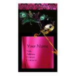 MASQUERADE BLACK PINK FUCHSIA SILK DAMASK CLOTH BUSINESS CARD TEMPLATES
