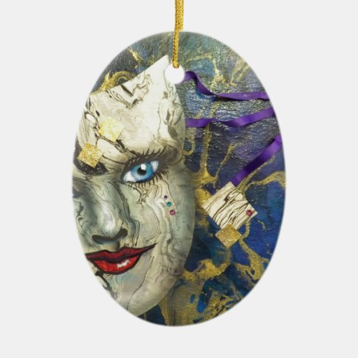 Masquerade Blues.jpg Double-Sided Oval Ceramic Christmas Ornament