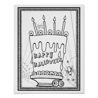 Masquerade Cake Cardstock Adult Coloring Page Poster