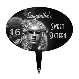 Masquerade carnival sweet sixteen cake toppers