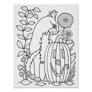 Masquerade Cat Cardstock Adult Coloring Page Poster