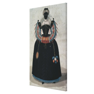 Masquerade costume in the style of Henri III (colo Stretched Canvas Prints
