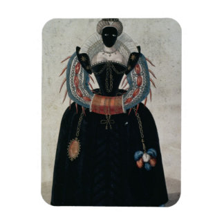 Masquerade costume in the style of Henri III colo Rectangular Magnet