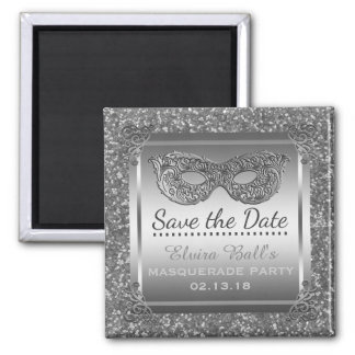 Masquerade Costume Party Save the Date Glam Silver Magnet