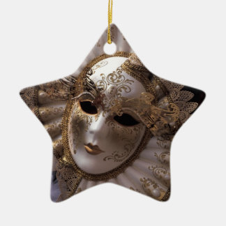 Masquerade Double-Sided Star Ceramic Christmas Ornament