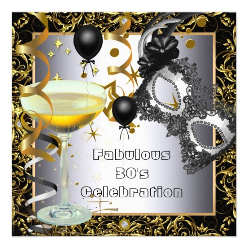 Masquerade Fabulous 30th Silver Gold Black Party Invites