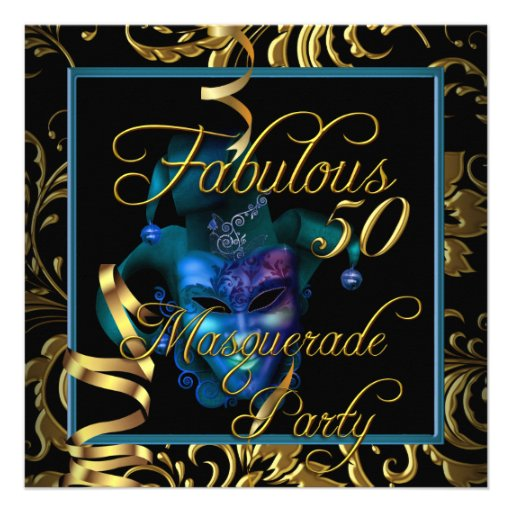 Masquerade Fabulous 50 Gold Blue Birthday Party Personalized Announcements