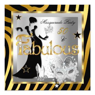 Masquerade Fabulous 50 Zebra Gold Silver Black Invitation