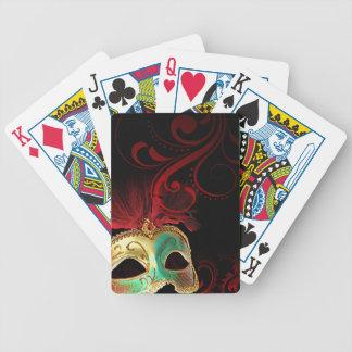 Masquerade Flourish Verdigris gold | red | aqua Bicycle Playing Cards