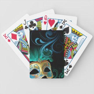 Masquerade Flourish Verdigris turquoise | gold Bicycle Card Deck