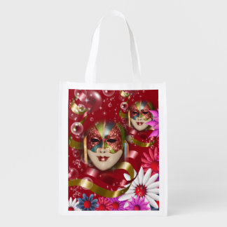 Masquerade flower fantasy   red pink reusable grocery bag
