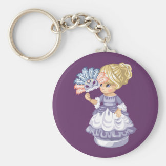 Masquerade Girl Basic Round Button Keychain