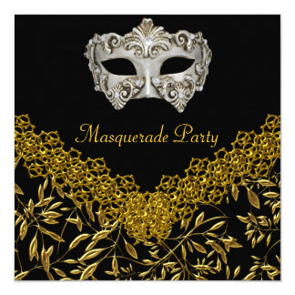 Masquerade Gold Black Hot Glamour Birthday Party Card