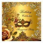 Masquerade Gold Mask Birthday Party Invitation