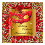 "Masquerade Gold Mask Glitter Red Birthday Party 2 5.25"" Square Invitation Card"
