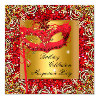 Masquerade Gold Mask Glitter Red Birthday Party 2 5.25x5.25 Square Paper Invitation Card