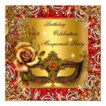 "Masquerade Gold Mask Glitter Red Birthday Party 5.25"" Square Invitation Card"