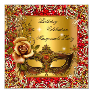 Masquerade Gold Mask Glitter Red Birthday Party Invitation