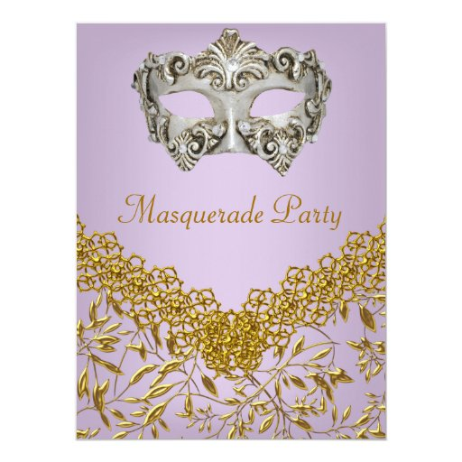 Masquerade Gold purple Hot Glamour Birthday Party Personalized Invitations